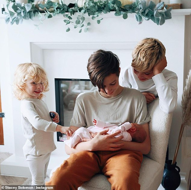 How sweet! Later in the week, she also shared the sweet moment where her three sons met the baby.She shared a series of snaps of Rex, two, her son with Joe, as well as Zachary, 13, and nine-year-old Leighton from previous relationships, gazing at their new sister