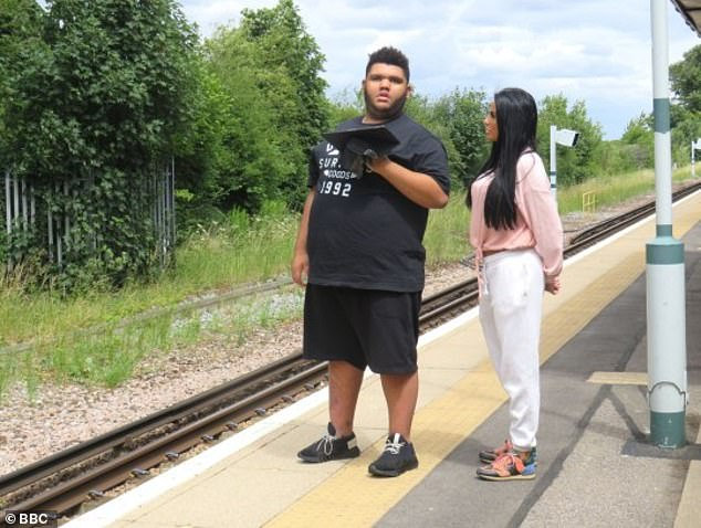 Loves it: The 19-year-old, who has Prader-Willi syndrome, was revealed to be a train enthusiast when he starred in the BBC documentary Katie Price: Harvey & Me.