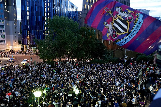Newcastle fans raised £305m.  Celebrated the acquisition of his club by the Saudi-led consortium for