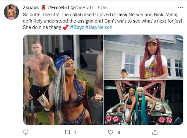 Success: It proved to be an overwhelming hit online, with fans taking to Twitter after the song dropped to pen: 'Jesy Nelson killing the BOYZ with so many outfits. Plus her vocals and adlibs and Nicki Minaj's Rap part made the whole MV a masterpiece!'