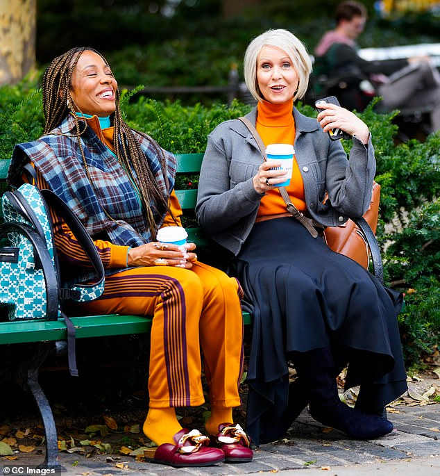 Seen in NYC: Cynthia Nixon and Karen Pittman were spotted on location in the Big Apple as they filmed a scene for And Just Like That ahead of the Sex and the City revival's winter premiere
