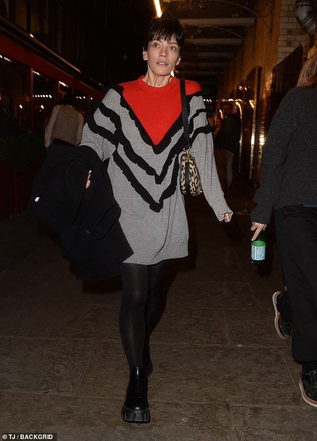 Rising: Lily Allen, 36, looked typically chic as she made low-key from the stage door at London's Noel Coward Theater on Friday night