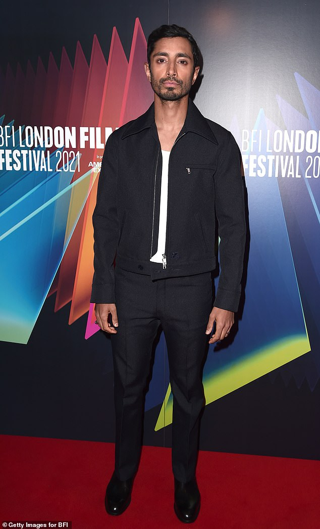 Dapper: Riz Ahmed looked stylish in a black collared zip-up jacket as he arrived at the European premiere of his film Encounter during the BFI London Film Festival on Friday.