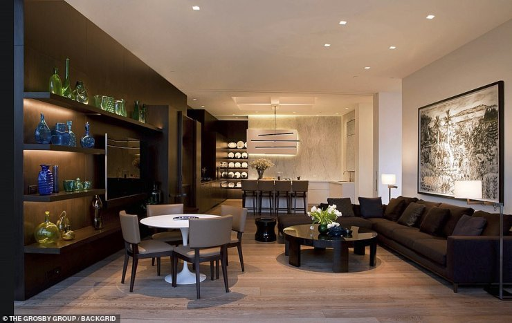 The floor have multiple sliding doors that open to the outside and the sloping back yard