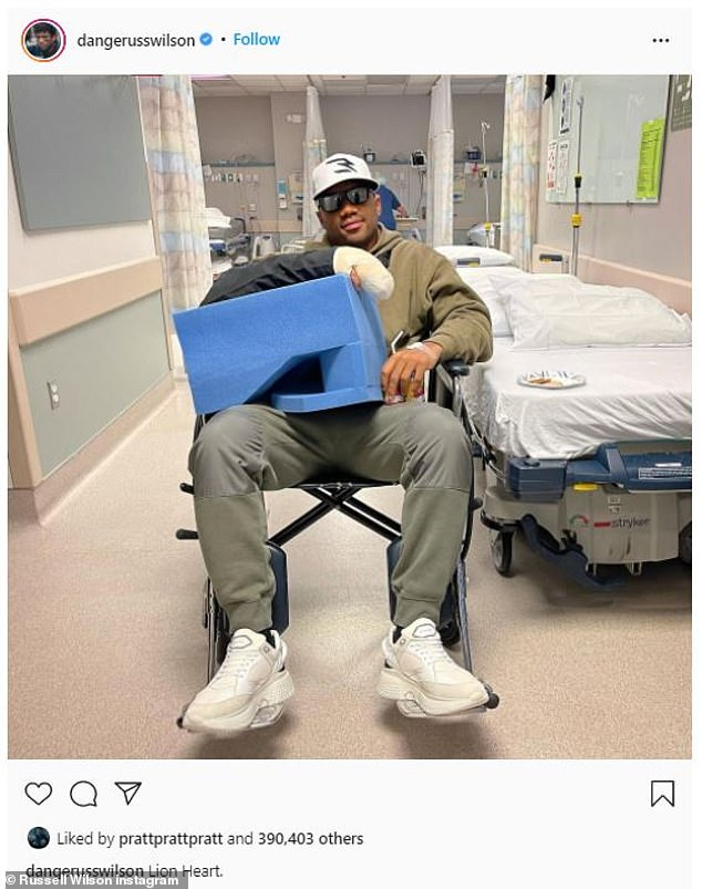 On the mend: Wilson would also take to his Instagram page and share a post-surgery photo of himself sitting in a wheelchair with his right hand bandaged up