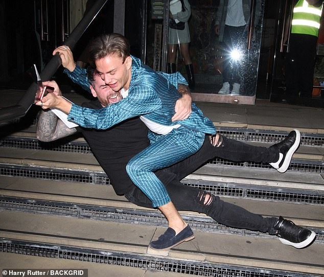 is stumbling!  Ben was also seen taking a tumble on the stairs with Celebrity X in the City star Freddie Bentley