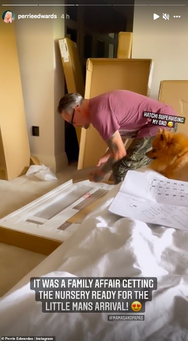Helping hand:Taking to her Instagram Story Perrie posted a video of her dad building the nursery furniture while surrounded by the family dogs