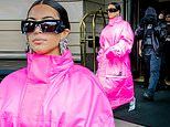 Kim Kardashian steps out in a massive pink coat with estranged husband Kanye West ahead of SNL debut