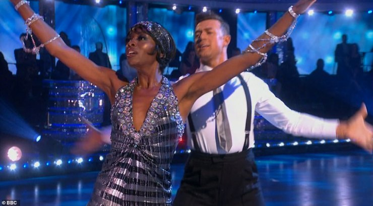 Fun:The presenter, 33, and her professional partner Kai, 26, danced an American Smooth to the soundtrack from the film The Bodyguard