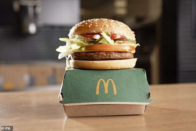 The burger features a patty developed in collaboration with vegetarian meat-alternative brand Beyond Meat to taste like a real beef burger.