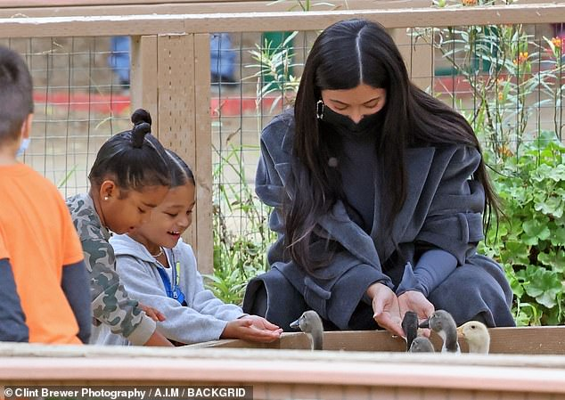 So fun! Once inside the farm, Stormi and True played among the plants before finding adorable ducks to feed