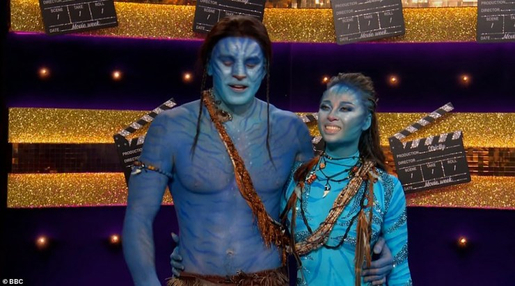 Blue look:Olympic swimmer Adam Peaty and his partner Katya Jones then performed a Rumba to the soundtrack from the film Avatar. They scored a disappointing 20 after harsh critique from the judges