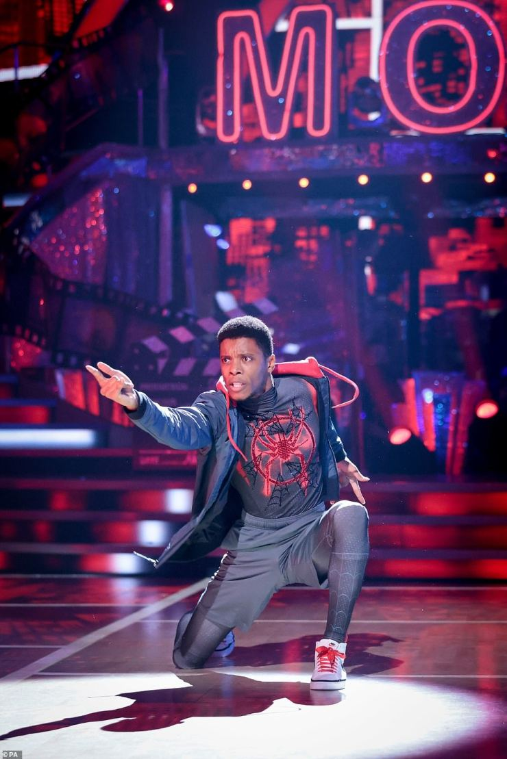 Incredible: Rhys looked great in his Spiderman outfit as he performed the show-stopping routine