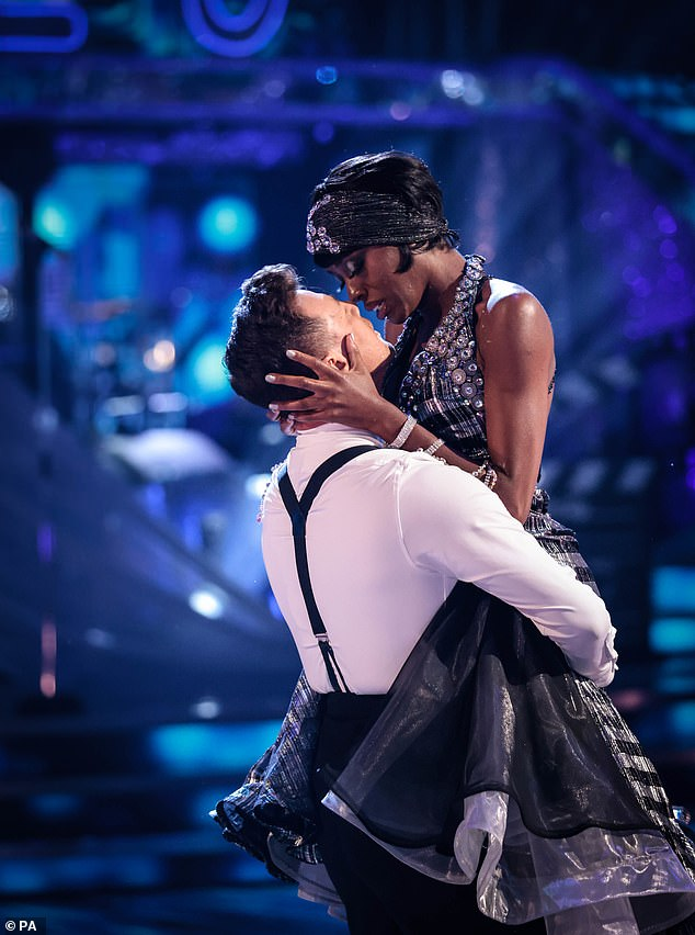 Close:Strictly's AJ Odudu is reportedly falling for her dance partner Kai Widdrington (pictured performing on Saturday)