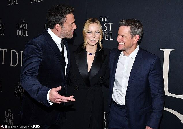 Trio: The seasoned entertainer was seen posing with costars Ben Affleck and Matt Damon