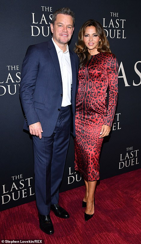 Suited up: Matt and his wife Luciana Barroso put on a striking display as they arrived together for the premiere