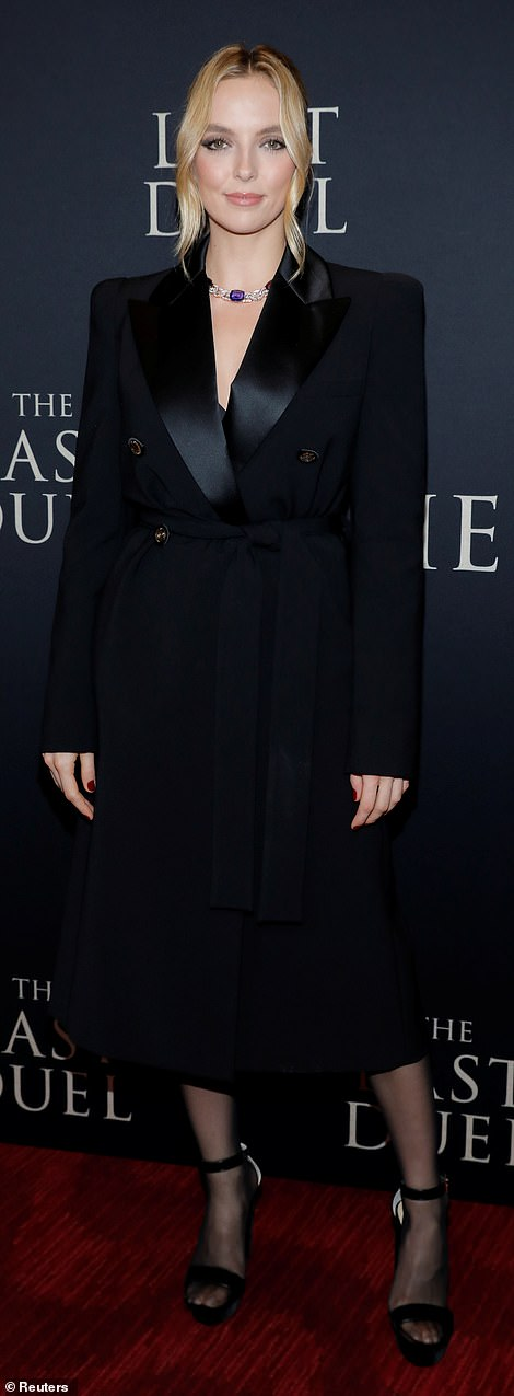 Back in black: Jodie Comer, who rounds out the trio of leads as the woman Damon and Driver's characters duel over, oozed elegance in a black suit-style dress