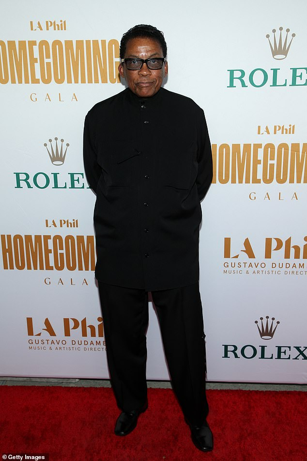 Monochrome:Herbie Hancock looked cool in a monochrome getup complete with a button down shirt and trousers