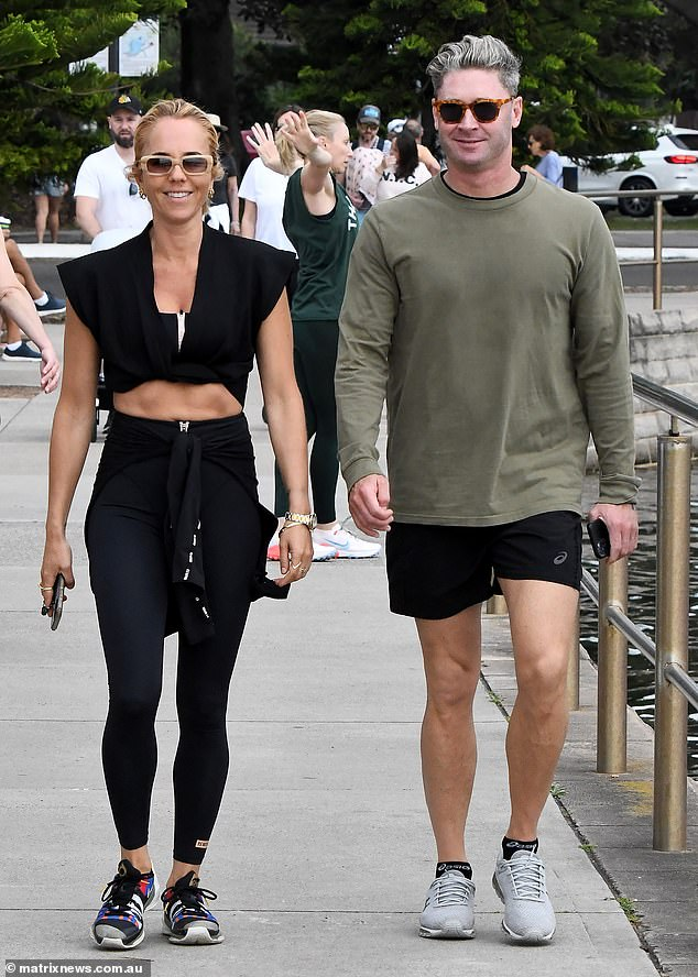 Love is in the air! On Sunday, Pip Edwards and Michael Clarke appeared in very high spirits as they enjoyed a romantic stroll together through Sydney's Rose Bay