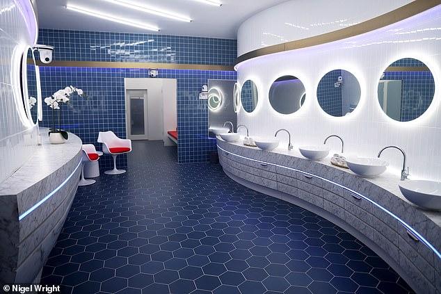 Colour palette: The bathroom features a colour palette of blue, grey and white tones