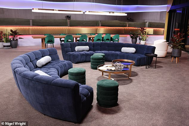 Ready for drama? No doubt a few heated discussions will go down in the lounge area, which features plush blue velvet curved sofas