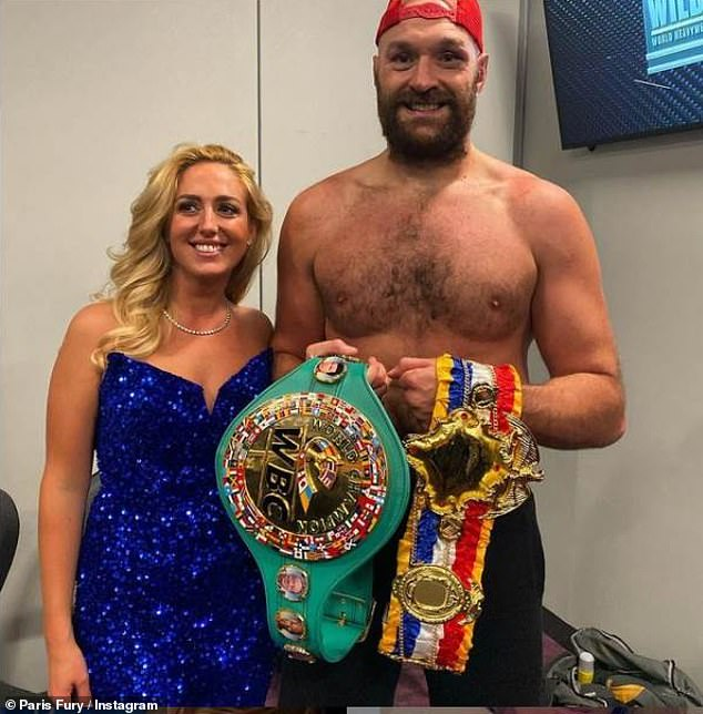 Loved-up: Paris Fury, 31, insists she's so secure within her marriage to Tyson Fury that she doesn't mind female fans in public (after her fight against Deontay Wilder in Las Vegas on Saturday). later pictured with Tyson)