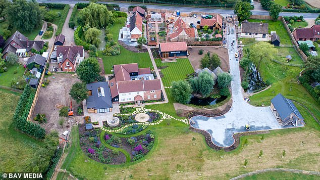 The rapper explained: 'It's a pretty exceptional house. He's got a big pond, but it's got a diving board into it and stairs' (pictured: an aerial view of Ed's Suffolk estate)