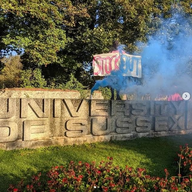 Banners saying 'Stock Out' have been held alongside burning flares and scores of people have been criticising her under the Twitter hashtag #ShameOnSussexUni