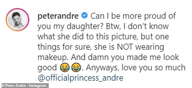 Natural beauty: Peter Andre, 48, took to social media on Sunday to share a gorgeous picture of his oldest daughter Princess