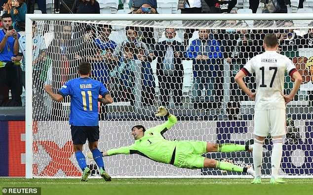 Belgium goalkeeper Thibaut Courtois got a touch to the ball but he couldn't keep it out