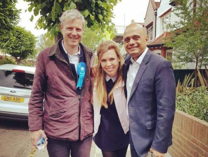 Carrie Johnson is a close friend of Lord Goldsmith (pictured left, with Health Secretary Sajid Javid out campaigning in 2017)