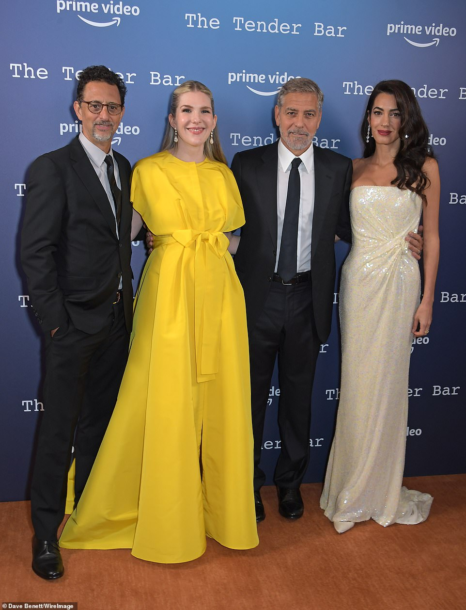 Say cheese! At the premiere, George and Amal were seen posing with the film's star Lily Rabe, as well as director Grant Heslov