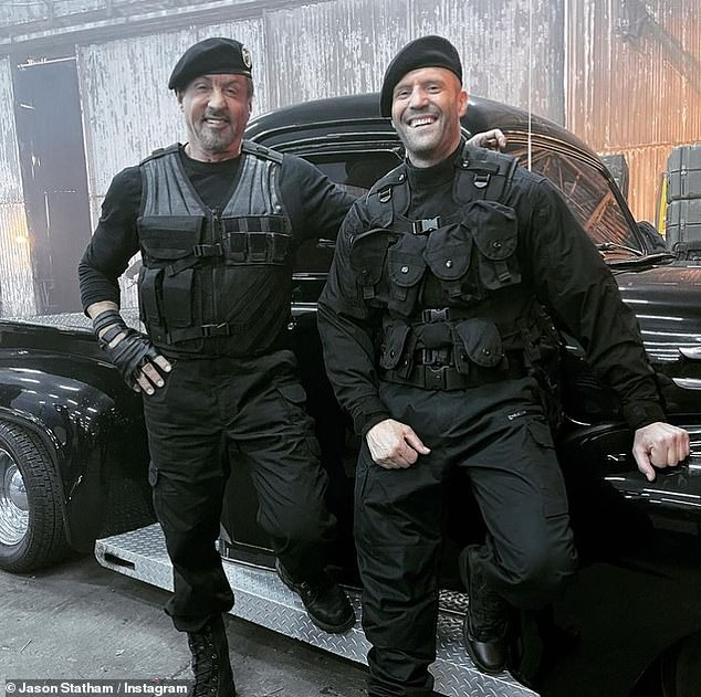Suave: Stallone (left) and Jason Statham (right) looked ready-for-action as they posed alongside one another during the filming in a Instagram post