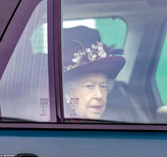 Service attended by the Queen (pictured) took placeat the Royal Chapel of All Saints on grounds of Royal Lodge at Windsor