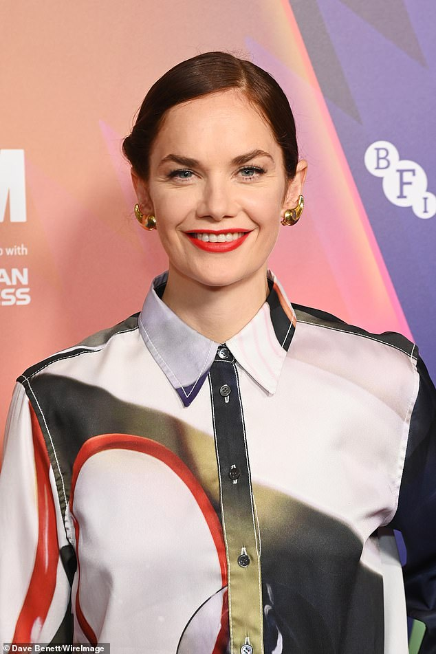 Style: The talented actress, 39, looked incredible in a satin oversized shirt and matching patterned trousers