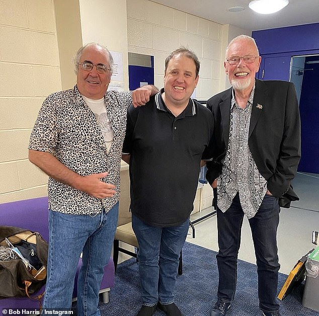 Spotted!  Peter Kay (center) made a rare appearance on the Comedians Danny Baker (left) and Bob Harris (right) Backstage Pass Tour at The Lowry Theater in Salford on Sunday