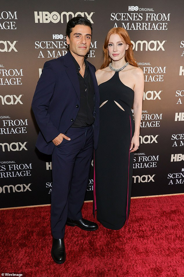 Sexy: Jessica Chastain ensured all eyes were on her in a figure-hugging gown as she attended a special screening of Scenes From A Marriage on Saturday