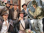 Harrison Ford, 79, poses with a group of Indiana Jones fans