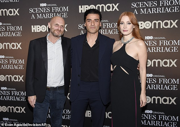 Writer-director Hagai Levi, left, poses with Isaac and Chastain