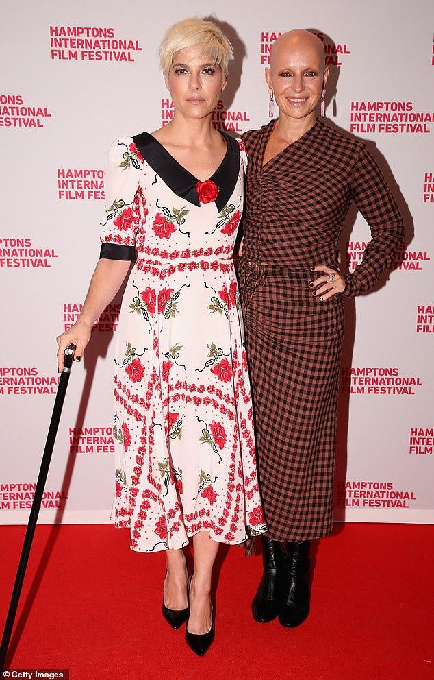 Lovely: Blair stepped out in a rose inspired Rodarte dress alongside director Rachel Fleit