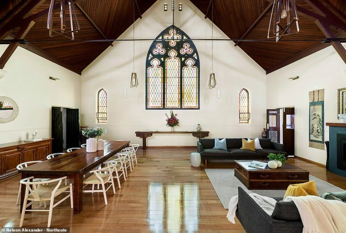 Previous owners transformed the old red brick church into a stunning open-plan living home, but the design pays tribute to the original church fixtures