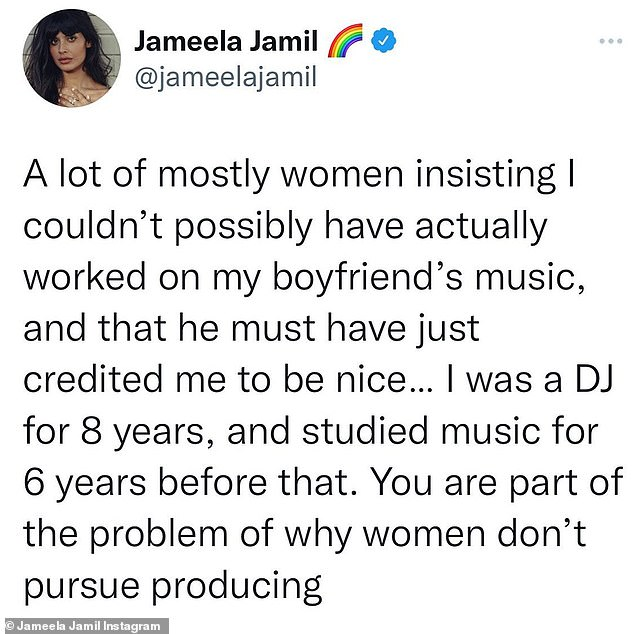 Insisting:'A lot of women insisting I couldn't possibly have actually worked on my boyfriend's music, and that he must have just credited me to be nice,' she began