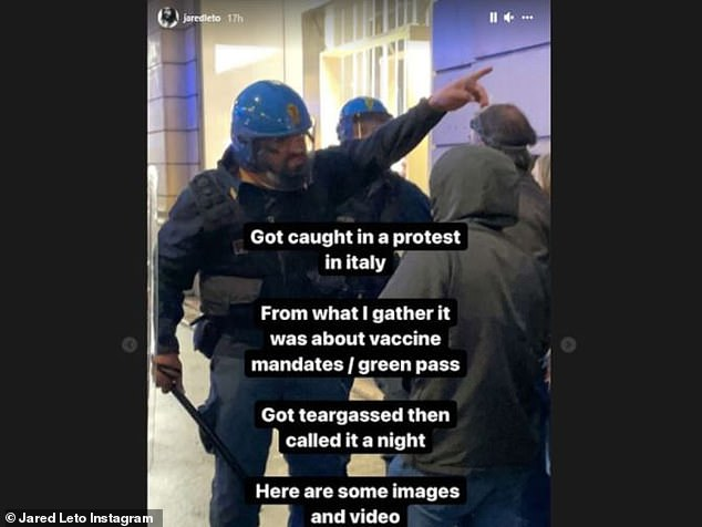"""Protest:'""""Got caught in a protest in Italy. From what I gather it was about vaccine mandates/green pass,' Leto said on his Instagram story"""