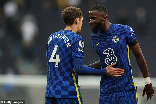 The future of fellow centre-back Antonio Rudiger (R) at Stamford Bridge is much less certain