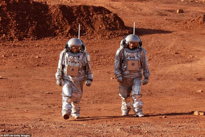 Some analog astronauts from Europe and a team from Israel walk in spacesuits during a training mission to Mars at a location that simulates an off-site station at the Ramon Crater at Mitzpe Ramon in Israel's southern Negev desert. Is.