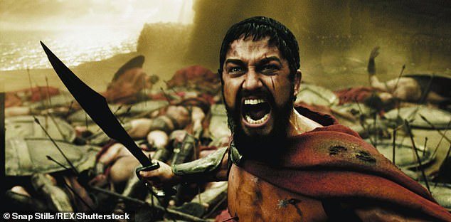 But military historian Myke Cole has claimed the famous battle, which took place 2,500 years ago, is all a 'myth. Pictured: Gerard Butler starring in 300