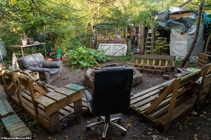 The outdoor area had a number of seats that had been recycled, including sofas made out of repurposed wooden pallets
