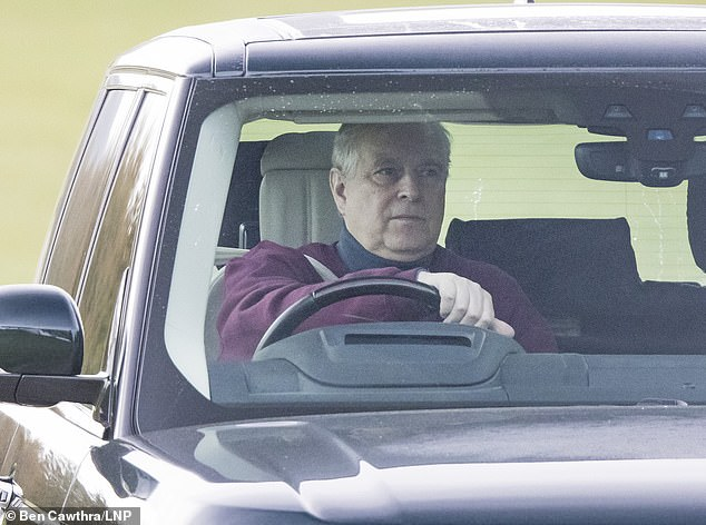 Prince Andrew, pictured in Windsor this year, has been 'isolated' from his family and is the only member of the firm 'clinging' to the idea that he could ever return to public life, a royal editor has claimed Is