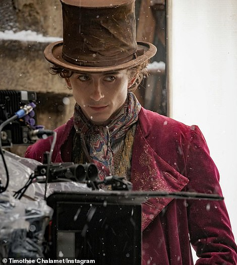 First look:Timothee gave his fans quite the surprise on Sunday, sharing the first look at him as Willy Wonka