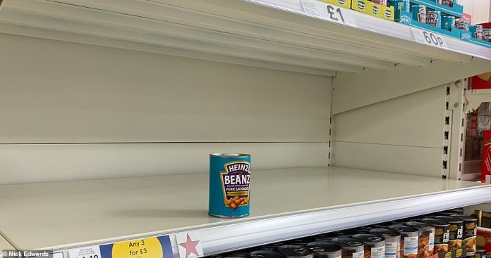 Some shelves in a Tesco at Surrey Quays in south-east London were empty today It has be reported that Britain is facing multiple crises, as supply chain woes caused by the HGV driver shortage combine with rising inflation, increase in gas prices, a shortage of fuel in London